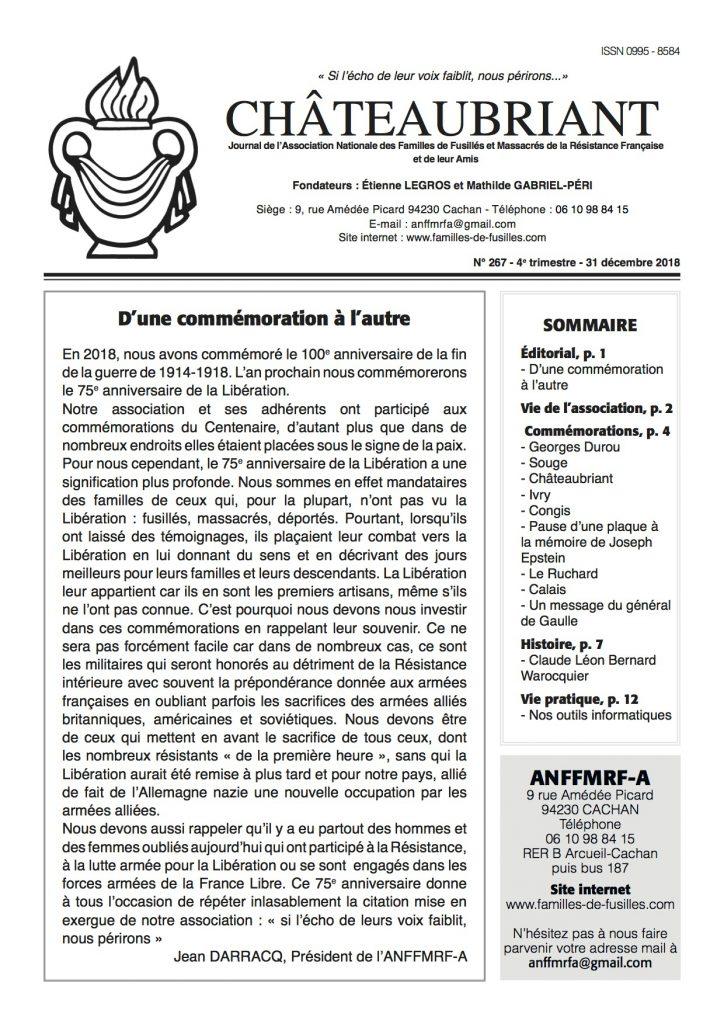 Parution du N°267 de Châteaubriant